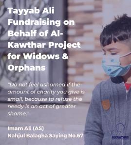 Tayyab Ali fundraising for Al-Kawthar this Ramadan